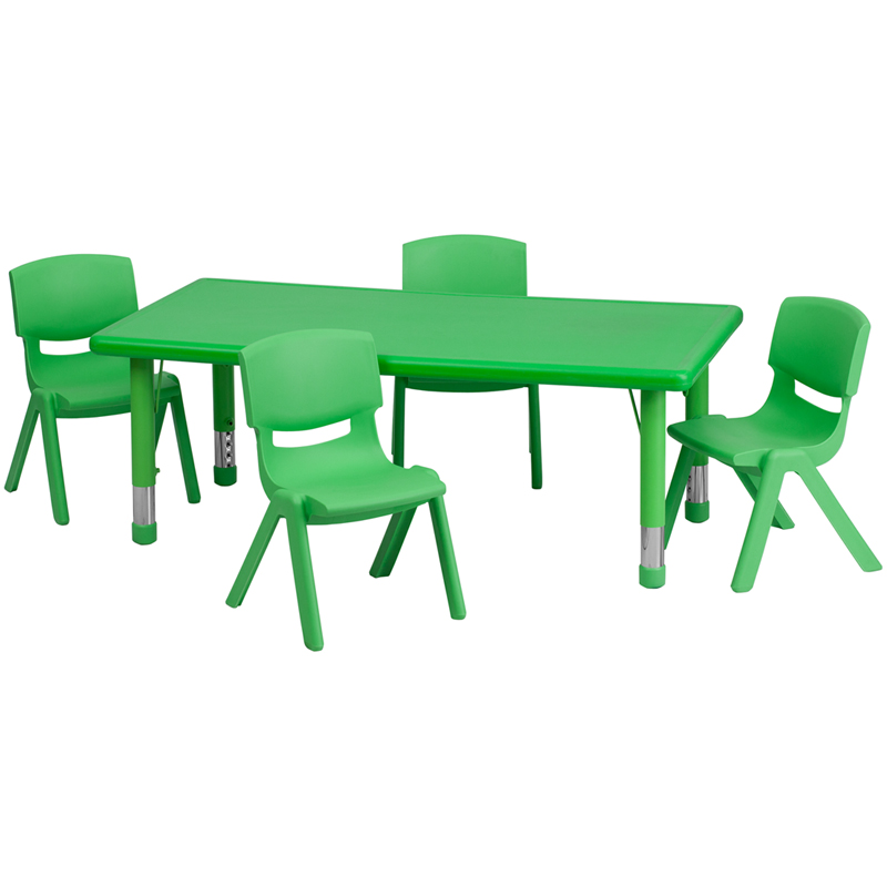 24 W X 48 L Adjule Rectangular Green Plastic Activity Table Set With 4 School Stack Chairs