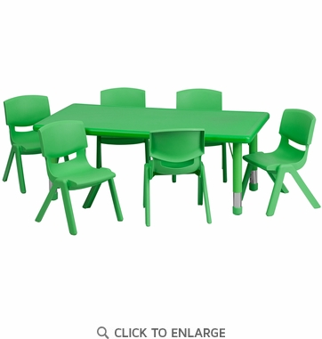 24''W x 48''L Adjustable Rectangular Green Plastic Activity Table Set with 6 School Stack Chairs