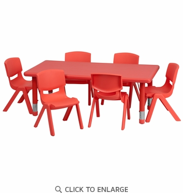 24''W x 48''L Adjustable Rectangular Red Plastic Activity Table Set with 6 School Stack Chairs