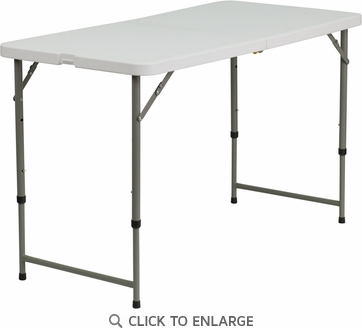 24''W x 48''L Height Adjustable Granite White Plastic Folding Table [DAD-YCZ-122Z-2-GG]