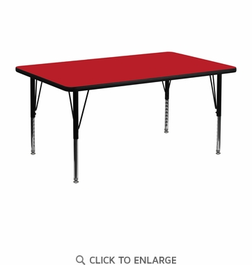 24''W x 48''L Rectangular Activity Table with 1.25'' Thick High Pressure Red Laminate Top and Height Adjustable Preschool Legs