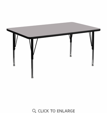 24''W x 48''L Rectangular Activity Table with Grey Thermal Fused Laminate Top and Height Adjustable Preschool Legs