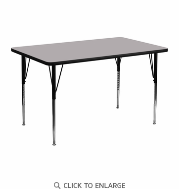 24''W x 48''L Rectangular Activity Table with Grey Thermal Fused Laminate Top and Standard Height Adjustable Legs