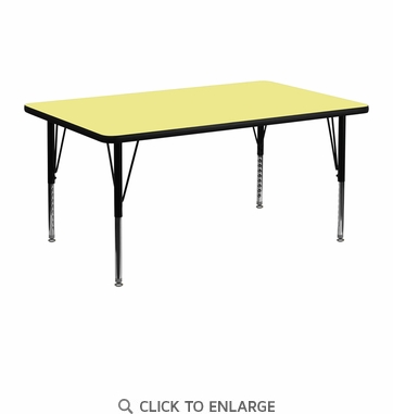 24''W x 48''L Rectangular Activity Table with Yellow Thermal Fused Laminate Top and Height Adjustable Preschool Legs