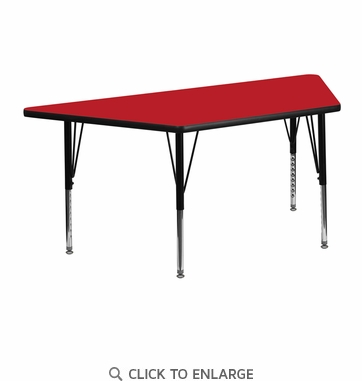 24''W x 48''L Trapezoid Activity Table with 1.25'' Thick High Pressure Red Laminate Top and Height Adjustable Preschool Legs
