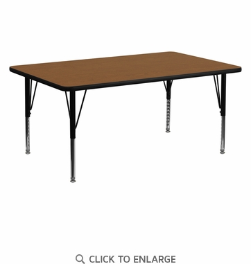 24''W x 60''L Rectangular Activity Table with 1.25'' Thick High Pressure Oak Laminate Top and Height Adjustable Preschool Legs