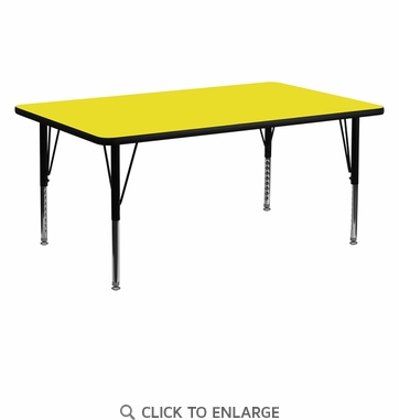24''W x 60''L Rectangular Activity Table with 1.25'' Thick High Pressure Yellow Laminate Top and Height Adjustable Preschool Legs