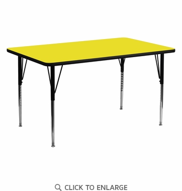 24''W x 60''L Rectangular Activity Table with 1.25'' Thick High Pressure Yellow Laminate Top and Standard Height Adjustable Legs