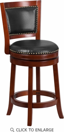 26'' High Dark Cherry Wood Counter Height Stool with Walnut Leather Swivel Seat [TA-355526-DC-CTR-GG]
