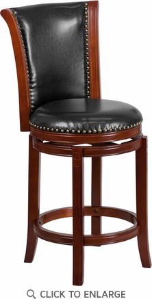 26'' High Dark Chestnut Wood Counter Height Stool with Black Leather Swivel Seat [TA-220126-DC-CTR-GG]
