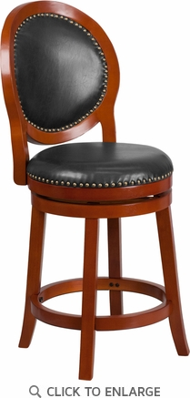 26'' High Light Cherry Counter Height Wood Barstool with Walnut Leather Swivel Seat [TA-550126-LC-GG]