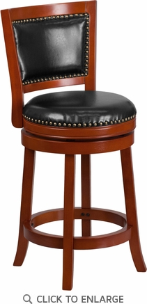 26'' High Light Cherry Wood Counter Height Stool with Black Leather Swivel Seat [TA-355526-LC-CTR-GG]