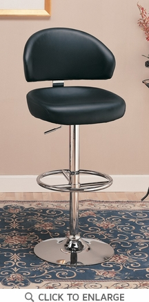 29 Inch Black Adjustable Bar Stool Chair by Coaster - 120342