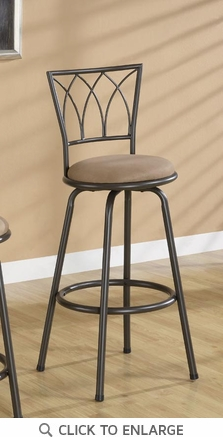 29 Inch Dark Brown Metal Bar Stool (Set of 2) by Coaster - 122020