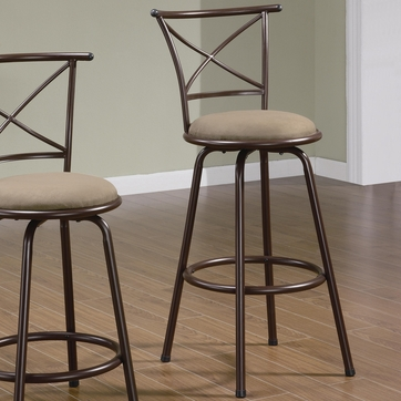 29 Inch Dark Brown Metal Bar Stool (Set of 2) by Coaster - 122030