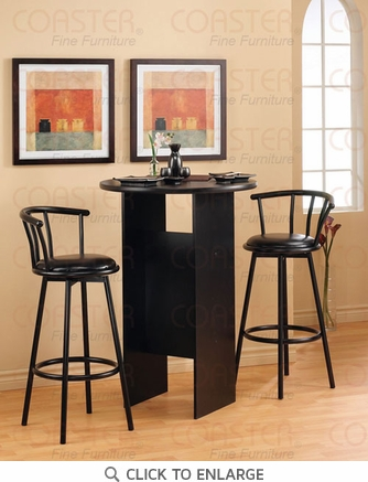 29 Inch Satin Black Metal Swivel Bar Stool (Set of 2) by Coaster - 2398