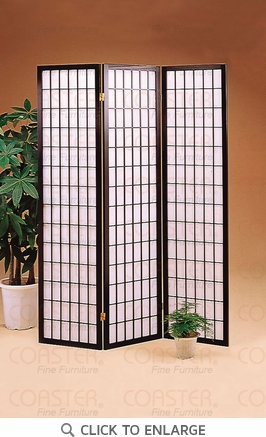 3 Panel Black Folding Screen / Room Divider by Coaster - 4622