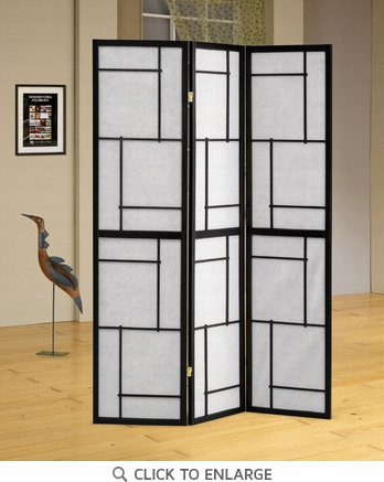 3 Panel Black Folding Screen / Room Divider by Coaster - 900102