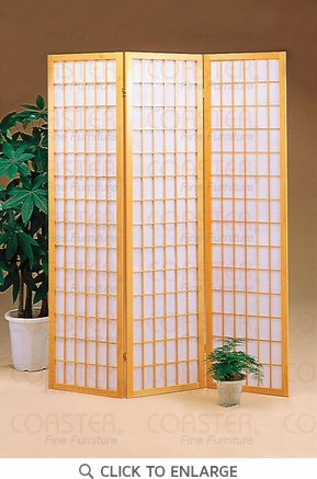 3 Panel Natural Folding Screen / Room Divider by Coaster - 4621