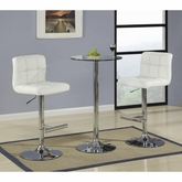 3 Piece Glass Bar Table Dining Set With Cream Bar Stool By Coaster  120341 120356