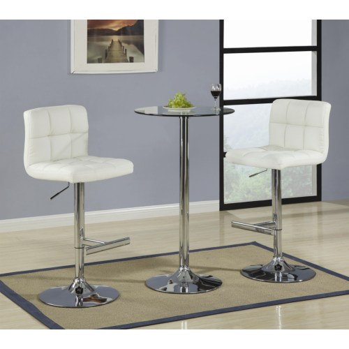 3 Piece Glass Bar Table Dining Set With Cream Bar Stool By Coaster