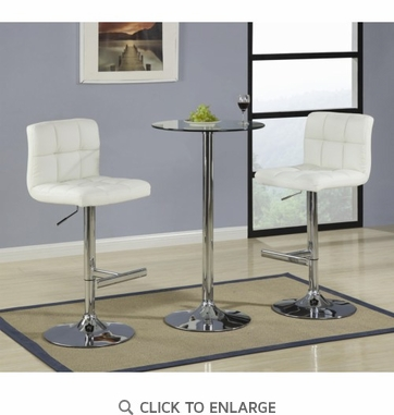 3 Piece Glass Bar Table Dining Set with Cream Bar Stool by Coaster 120341-120356