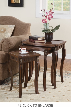 3 Piece Nesting Tables in a Brown Cherry Finish by Coaster - 901076
