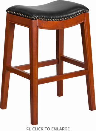 30'' High Backless Light Cherry Wood Barstool with Black Leather Seat [TA-411030-LC-GG]