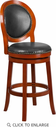 30'' High Light Cherry Wood Barstool with Walnut Leather Swivel Seat [TA-550130-LC-GG]