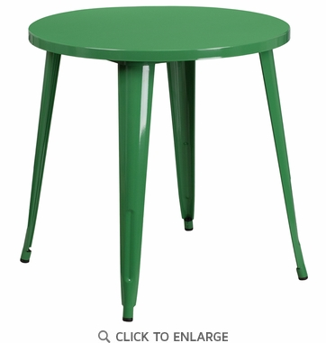 30'' Round Green Metal Indoor-Outdoor Table [CH-51090-29-GN-GG]
