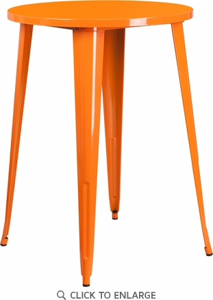 30'' Round Orange Metal Indoor-Outdoor Bar Height Table [CH-51090-40-OR-GG]