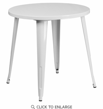 30'' Round White Metal Indoor-Outdoor Table [CH-51090-29-WH-GG]