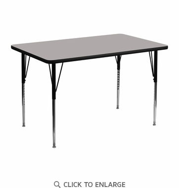 30''W x 48''L Rectangular Activity Table with 1.25'' Thick High Pressure Grey Laminate Top and Standard Height Adjustable Legs