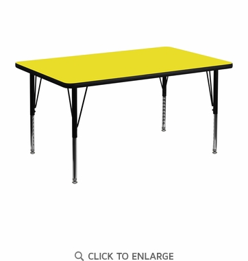 30''W x 48''L Rectangular Activity Table with 1.25'' Thick High Pressure Yellow Laminate Top and Height Adjustable Preschool Legs