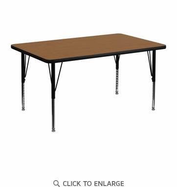 30''W x 48''L Rectangular Activity Table with Oak Thermal Fused Laminate Top and Height Adjustable Preschool Legs