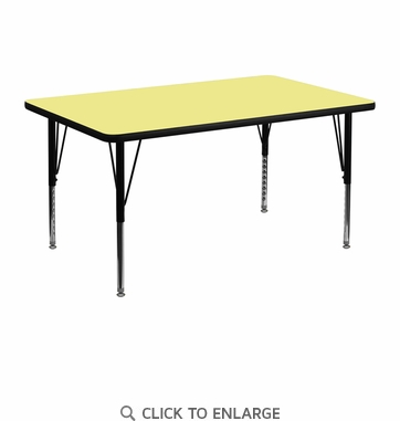 30''W x 48''L Rectangular Activity Table with Yellow Thermal Fused Laminate Top and Height Adjustable Preschool Legs
