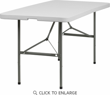30''W x 60''L Bi-Fold Granite White Plastic Folding Table [DAD-YCZ-152Z-GG]