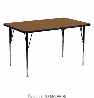 30''W x 60''L Rectangular Activity Table with 1.25'' Thick High Pressure Oak Laminate Top and Standard Height Adjustable Legs