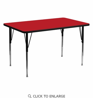 30''W x 60''L Rectangular Activity Table with 1.25'' Thick High Pressure Red Laminate Top and Standard Height Adjustable Legs