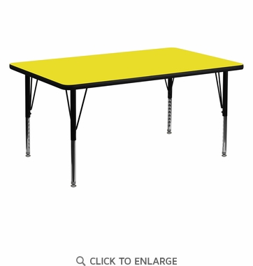 30''W x 60''L Rectangular Activity Table with 1.25'' Thick High Pressure Yellow Laminate Top and Height Adjustable Preschool Legs