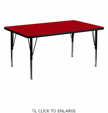 30''W x 60''L Rectangular Activity Table with Red Thermal Fused Laminate Top and Height Adjustable Preschool Legs
