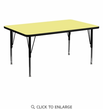 30''W x 60''L Rectangular Activity Table with Yellow Thermal Fused Laminate Top and Height Adjustable Preschool Legs