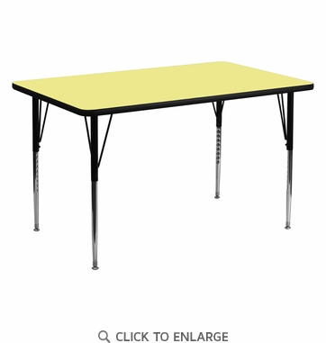 30''W x 60''L Rectangular Activity Table with Yellow Thermal Fused Laminate Top and Standard Height Adjustable Legs