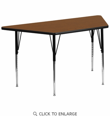 30''W x 60''L Trapezoid Activity Table with 1.25'' Thick High Pressure Oak Laminate Top and Standard Height Adjustable Legs