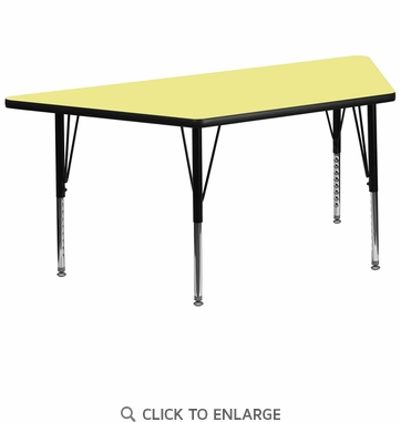 30''W x 60''L Trapezoid Activity Table with Yellow Thermal Fused Laminate Top and Height Adjustable Preschool Legs
