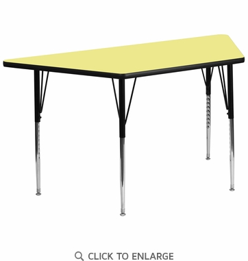 30''W x 60''L Trapezoid Activity Table with Yellow Thermal Fused Laminate Top and Standard Height Adjustable Legs