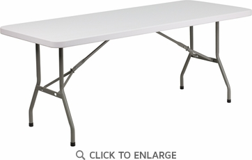 30''W x 72''L Granite White Plastic Folding Table [DAD-YCZ-183B-GW-GG]