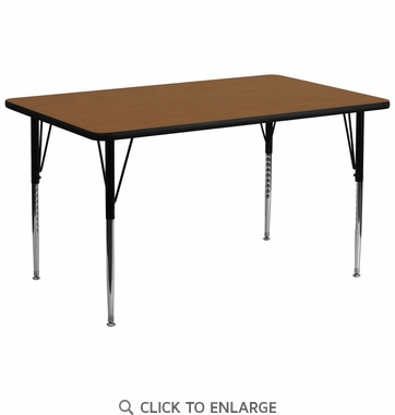 30''W x 72''L Rectangular Activity Table with 1.25'' Thick High Pressure Oak Laminate Top and Standard Height Adjustable Legs