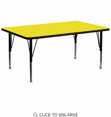 30''W x 72''L Rectangular Activity Table with 1.25'' Thick High Pressure Yellow Laminate Top and Height Adjustable Preschool Legs