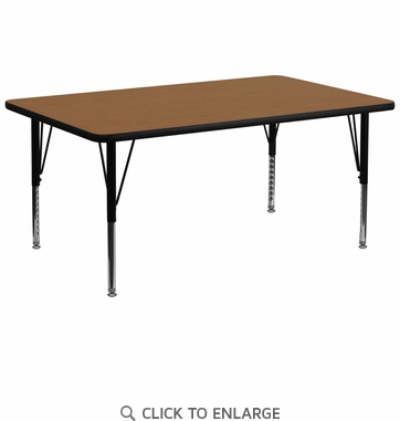 30''W x 72''L Rectangular Activity Table with Oak Thermal Fused Laminate Top and Height Adjustable Preschool Legs